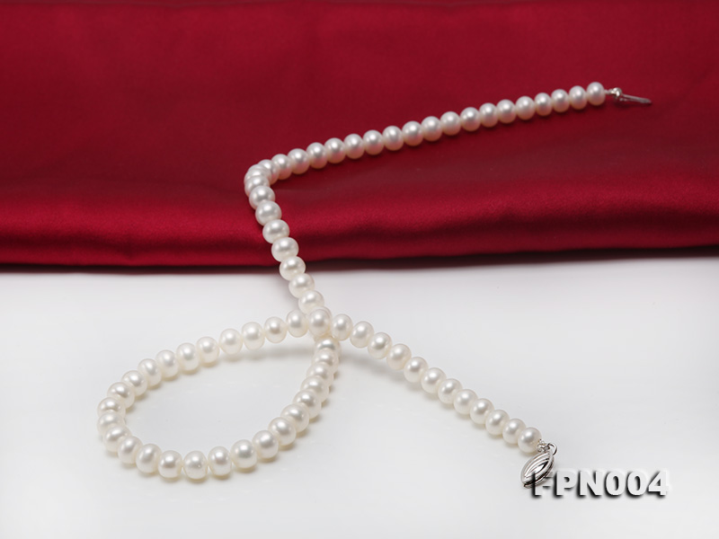 6-6.5mm White Flatly Round Freshwater Cultured Pearl Necklace big Image 9