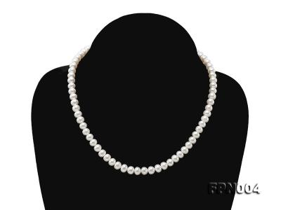 6-6.5mm White Flatly Round Freshwater Cultured Pearl Necklace FPN004 Image 1