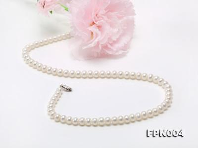 6-6.5mm White Flatly Round Freshwater Cultured Pearl Necklace FPN004 Image 5