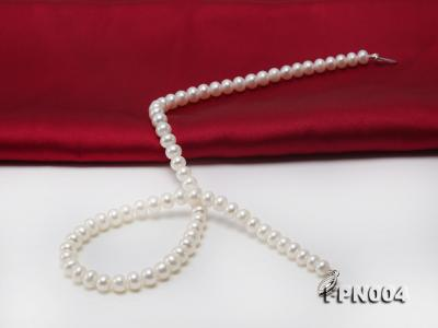 6-6.5mm White Flatly Round Freshwater Cultured Pearl Necklace FPN004 Image 9