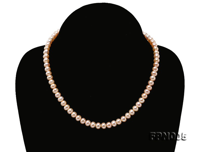 6-6.5mm Pink Flatly Round Cultured Freshwater Pearl Necklace big Image 1