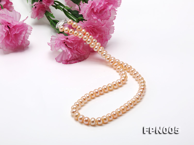 6-6.5mm Pink Flatly Round Cultured Freshwater Pearl Necklace big Image 5