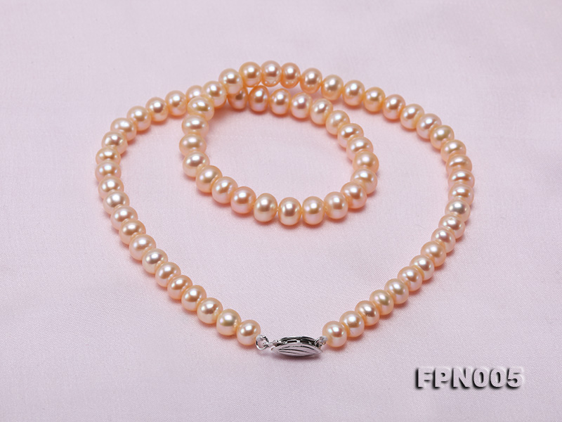 6-6.5mm Pink Flatly Round Cultured Freshwater Pearl Necklace big Image 8