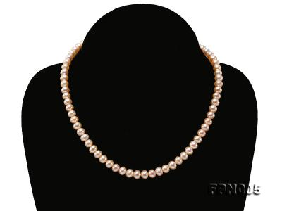 6-6.5mm Pink Flatly Round Cultured Freshwater Pearl Necklace FPN005 Image 1