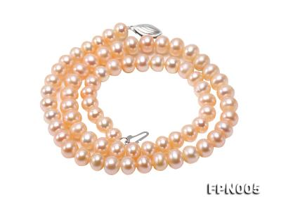 6-6.5mm Pink Flatly Round Cultured Freshwater Pearl Necklace FPN005 Image 2