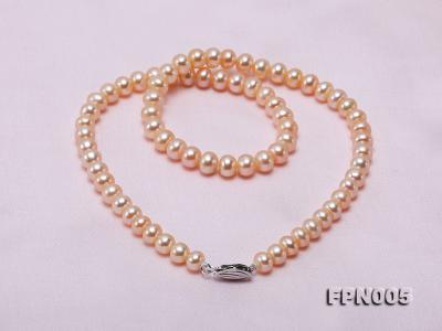 6-6.5mm Pink Flatly Round Cultured Freshwater Pearl Necklace FPN005 Image 8