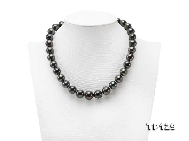 12-14mm Black Round Tahiti Pearl Necklace big Image 1