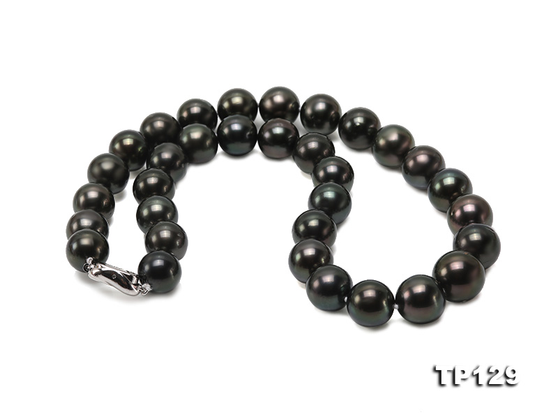 12-14mm Black Round Tahiti Pearl Necklace big Image 3
