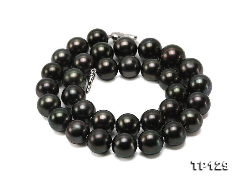 12-14mm Black Round Tahiti Pearl Necklace big Image 4