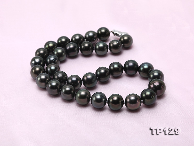 12-14mm Black Round Tahiti Pearl Necklace big Image 6