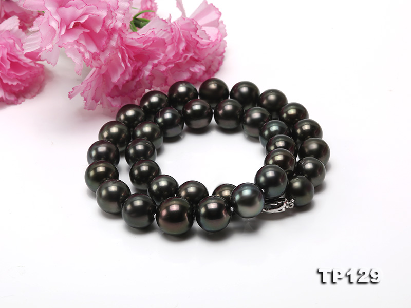 12-14mm Black Round Tahiti Pearl Necklace big Image 7