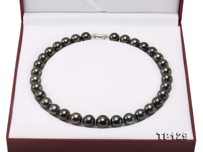 12-14mm Black Round Tahiti Pearl Necklace big Image 11