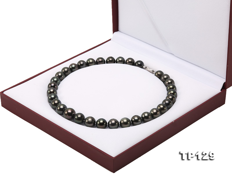 12-14mm Black Round Tahiti Pearl Necklace big Image 12