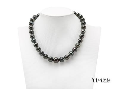 12-14mm Black Round Tahiti Pearl Necklace TP129 Image 1