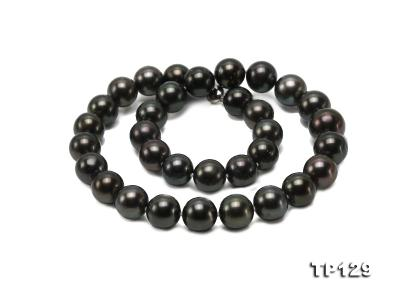 12-14mm Black Round Tahiti Pearl Necklace TP129 Image 2
