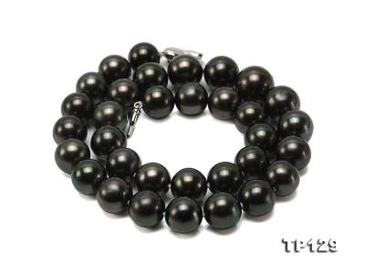 12-14mm Black Round Tahiti Pearl Necklace TP129 Image 4