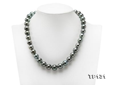 11.5-13mm Black Round Tahiti Pearl Necklace  TP131 Image 1