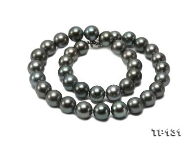 11.5-13mm Black Round Tahiti Pearl Necklace  TP131 Image 2