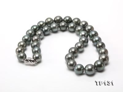11.5-13mm Black Round Tahiti Pearl Necklace  TP131 Image 3