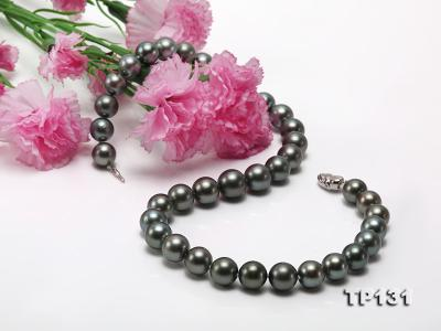 11.5-13mm Black Round Tahiti Pearl Necklace  TP131 Image 6