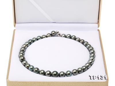 11.5-13mm Black Round Tahiti Pearl Necklace  TP131 Image 9