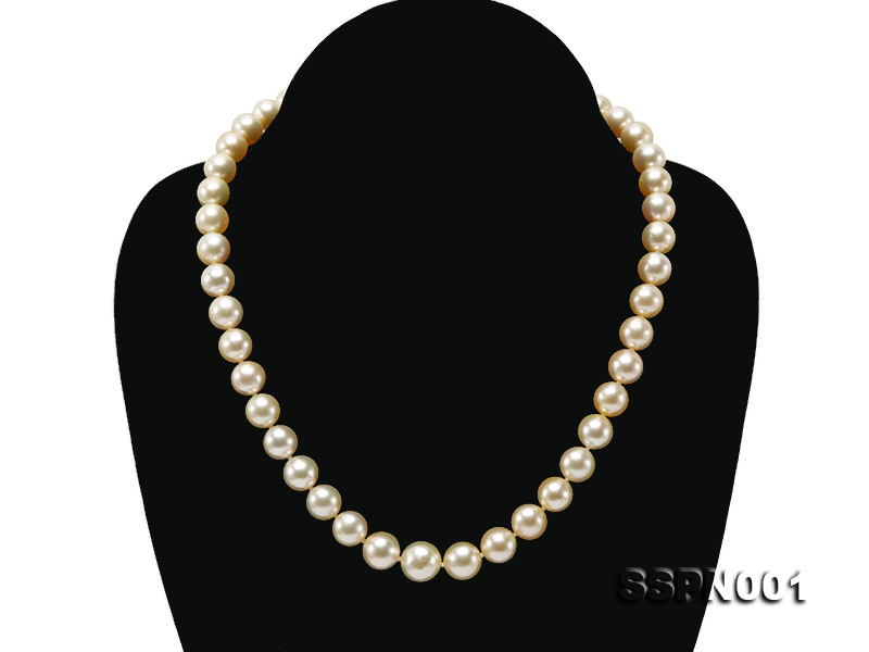AAAAA 9-11.5mm Light Golden South Sea Pearl Necklace big Image 1