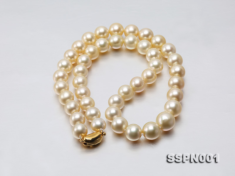 AAAAA 9-11.5mm Light Golden South Sea Pearl Necklace big Image 3