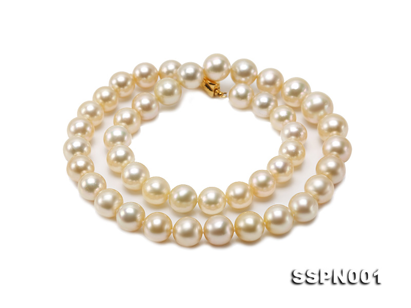 AAAAA 9-11.5mm Light Golden South Sea Pearl Necklace big Image 4
