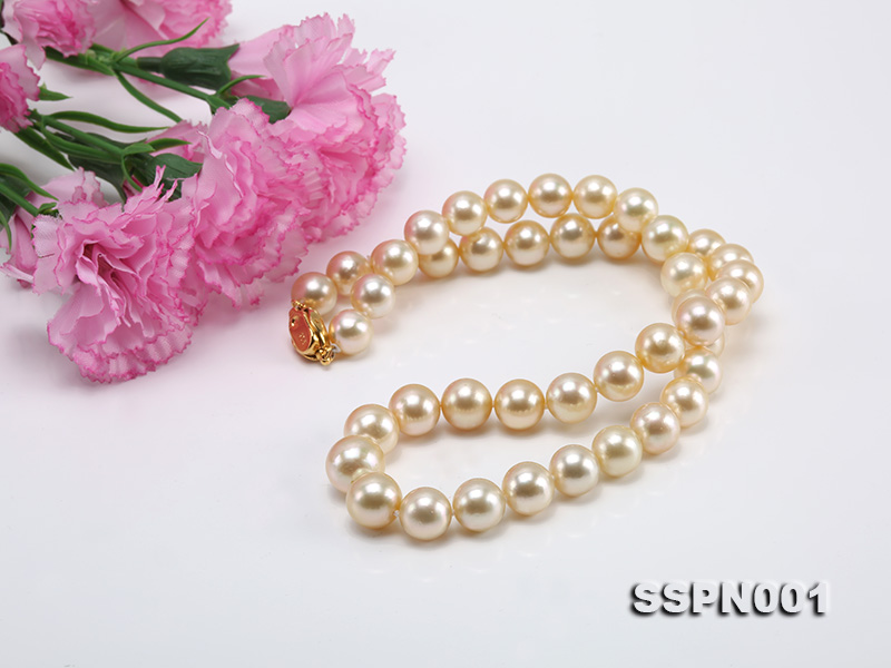 AAAAA 9-11.5mm Light Golden South Sea Pearl Necklace big Image 5