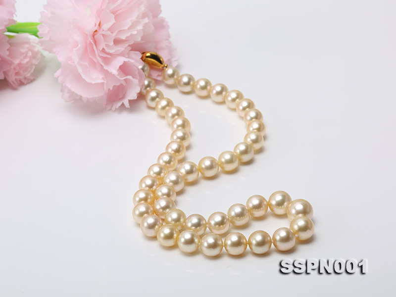 AAAAA 9-11.5mm Light Golden South Sea Pearl Necklace big Image 7
