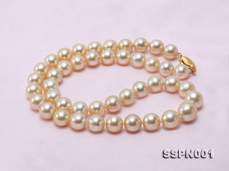 AAAAA 9-11.5mm Light Golden South Sea Pearl Necklace big Image 8