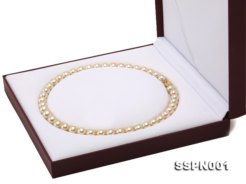 AAAAA 9-11.5mm Light Golden South Sea Pearl Necklace big Image 10