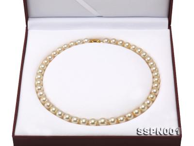 AAAAA 9-11.5mm Light Golden South Sea Pearl Necklace SSPN001 Image 9