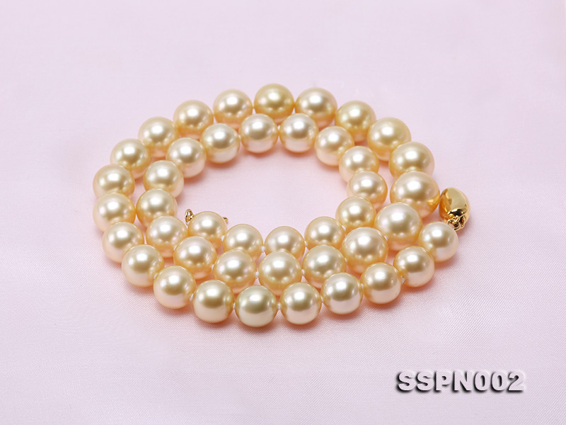 AAAAA 9-12mm Light Golden South Sea Pearl Necklace big Image 6