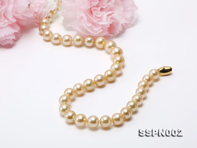 AAAAA 9-12mm Light Golden South Sea Pearl Necklace big Image 8