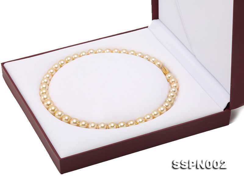 AAAAA 9-12mm Light Golden South Sea Pearl Necklace big Image 10
