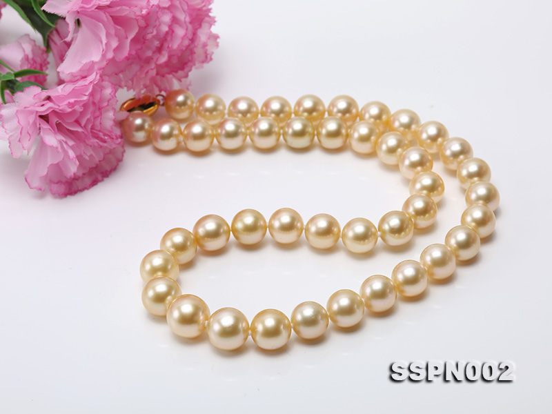 AAAAA 9-12mm Light Golden South Sea Pearl Necklace big Image 11