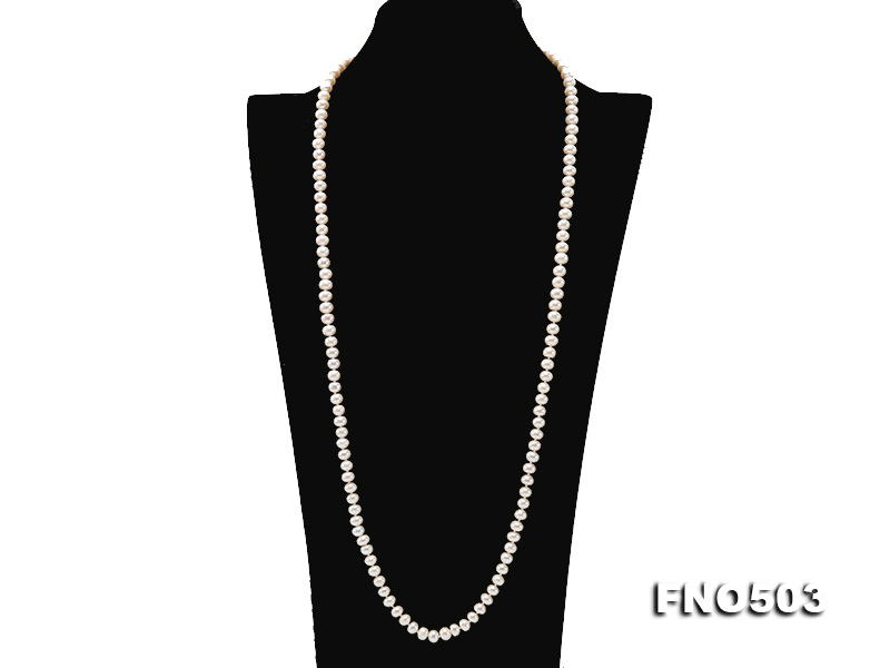 Classical 6-7mm White Pearl Long Necklace big Image 2