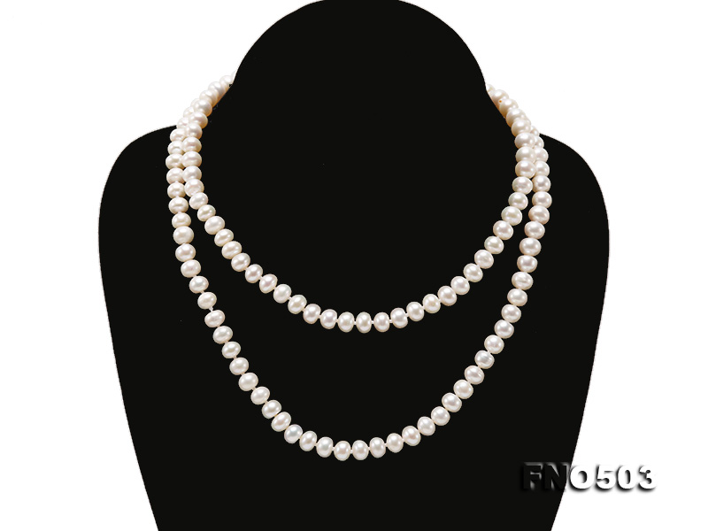 Classical 6-7mm White Pearl Long Necklace big Image 3