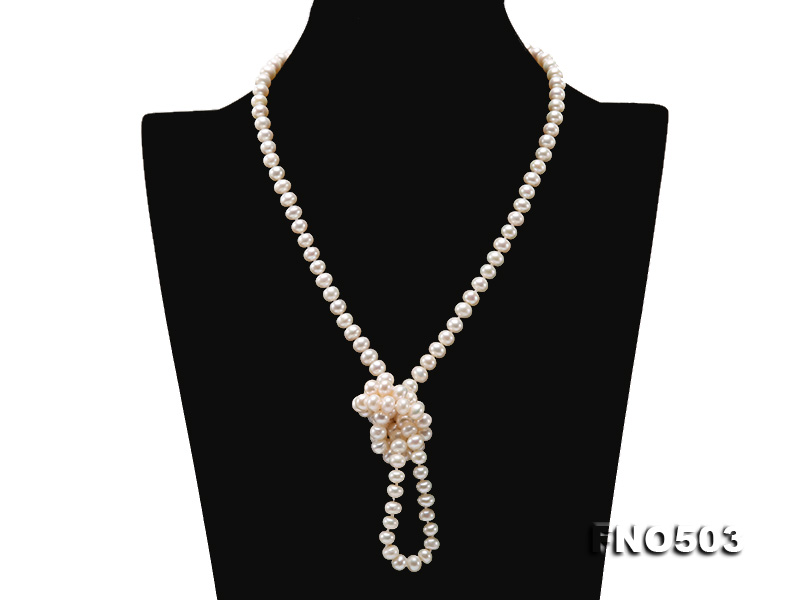 Classical 6-7mm White Pearl Long Necklace big Image 4