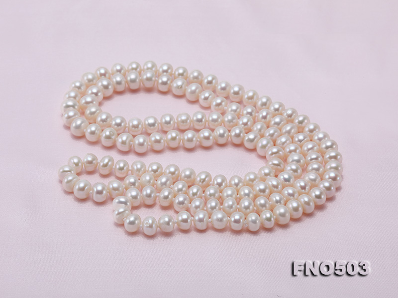 Classical 6-7mm White Pearl Long Necklace big Image 8