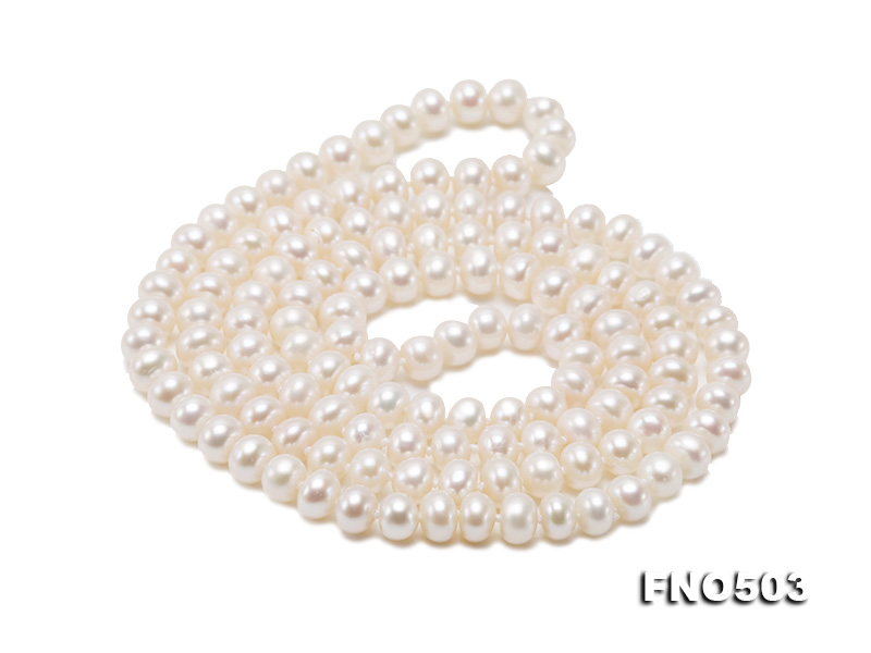 Classical 6-7mm White Pearl Long Necklace big Image 10