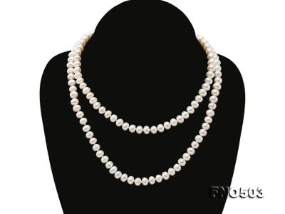 Classical 6-7mm White Pearl Long Necklace FNO503 Image 3