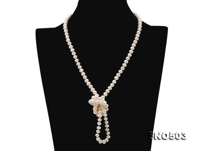 Classical 6-7mm White Pearl Long Necklace FNO503 Image 4