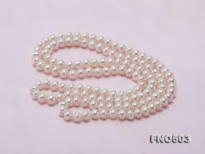 Classical 6-7mm White Pearl Long Necklace FNO503 Image 8