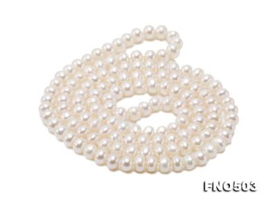 Classical 6-7mm White Pearl Long Necklace FNO503 Image 10