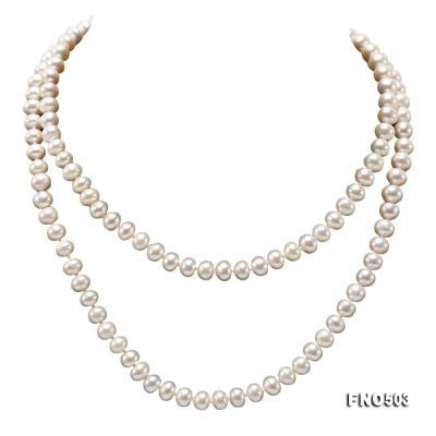 Classical 6-7mm White Pearl Long Necklace FNO503 Image 1