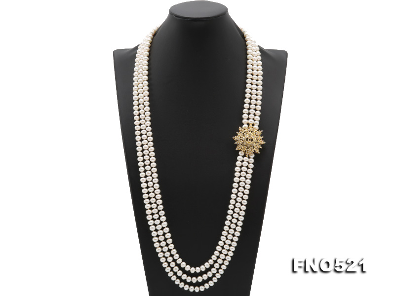 High Grade 8-8.5mm Three-Strand Freshwater Pearl Opera Necklace big Image 1