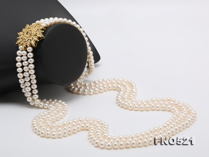 High Grade 8-8.5mm Three-Strand Freshwater Pearl Opera Necklace big Image 3
