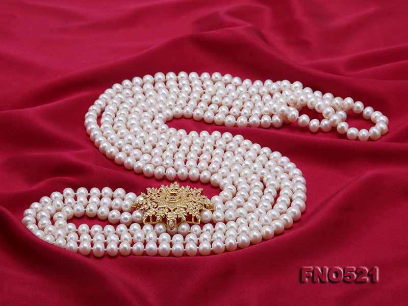 High Grade 8-8.5mm Three-Strand Freshwater Pearl Opera Necklace big Image 4
